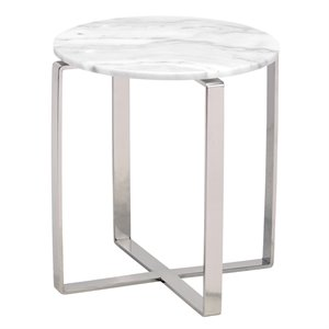 Nuevo Rosa Round Marble Top End Table in White