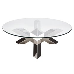 Nuevo Costa Round Glass Top Coffee Table in Silver