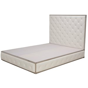 Nuevo Boxer Faux Leather Upholstered Queen Platform Bed in White