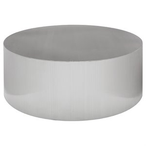 Nuevo Piston Round Metal Coffee Table in Silver