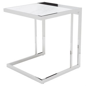 Nuevo Ethan Square Marble Top End Table