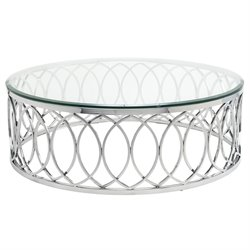 Nuevo Juliette Round Glass Top Metal Coffee Table in Silver