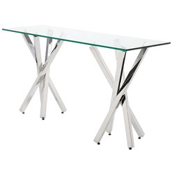 Nuevo Francois Glass Top Metal Console Table in Silver