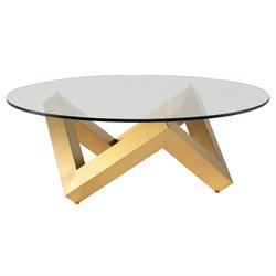 Nuevo Como Round Glass Top Coffee Table