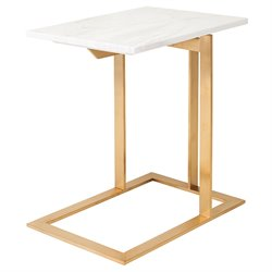 Nuevo Dell Marble Top End Table in Gold and White