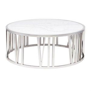 Nuevo Roman Round Marble Top Coffee Table in Silver and White