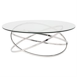 Nuevo Corel Round Glass Top Metal Coffee Table