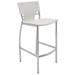 Nuevo Lisbon Leather Bar Stool in White