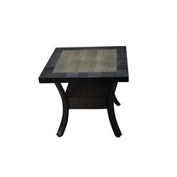 Sunvilla Belize Square Patio End Table in Slate