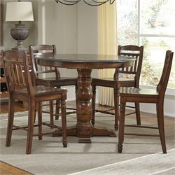 A-America Andover 5 Piece Round Counter Height Dining Set in Cherry