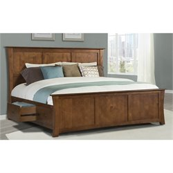 A-America Grant Park Queen Panel Storage Bed in Pecan