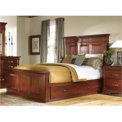 A-America Kalispell Queen Panel Storage Bed in Mahogany