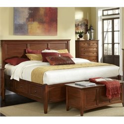 A-America Westlake Queen Panel Storage Bed in Cherry Brown