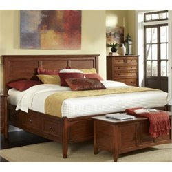 A-America Westlake King Panel Storage Bed in Cherry Brown