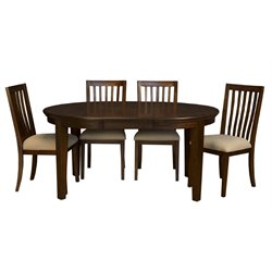 A-America Westlake 5 Piece Oval Extendable Dining Set in Cherry Brown