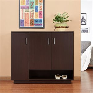 Furniture of America Powell Modern Shoe Cabinet in Walnut
