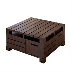 Furniture of America Bartoll Square Storage Coffee Table in Walnut