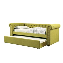 Furniture of America Hopper Tufted Daybed with Trundle in Lemongrass
