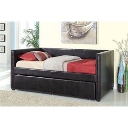 Furniture of America Barton Platform Daybed with Trundle in Black