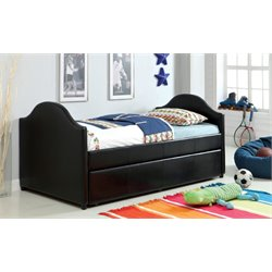 Furniture of America Jenning Upholstered Daybed with Trundle in Black