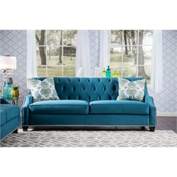 Furniture of America Sachelly Tufted Velvet Sofa in Azure Blue
