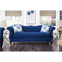 Furniture of America Churcox Velvet Sofa in Royal Blue