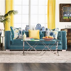 Furniture of America Panth Tufted Velvet Sofa in Turquoise