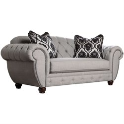 Furniture of America Isabella Tufted Fabric Loveseat in Gray