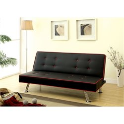 Furniture of America Dougie Faux Leather Sleeper Sofa Bed in Black