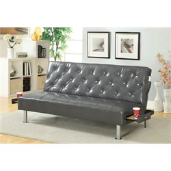 Furniture of America Felicity Leather Sleeper Sofa Bed in Gray