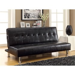 Furniture of America Hollie Faux Leather Sleeper Sofa Bed in Black