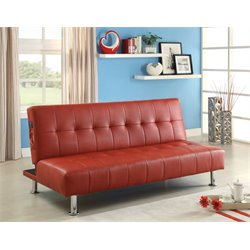 Furniture of America Hollie Faux Leather Sleeper Sofa Bed in Red