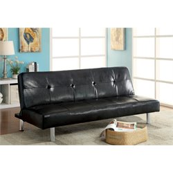Furniture of America Natick Faux Leather Sleeper Sofa Bed in Black