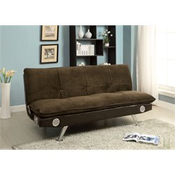 Furniture of America Malden Fabric Sleeper Sofa Bed in Dark Brown