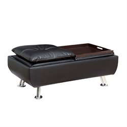 Furniture of America Ralston Tufted Leather Ottoman with Tray in Black