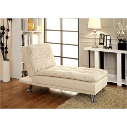 Furniture of America Ralston Tufted Chaise Lounge in Ivory
