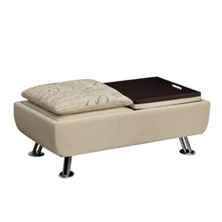 Furniture of America Ralston Tufted Ottoman with Tray in Ivory