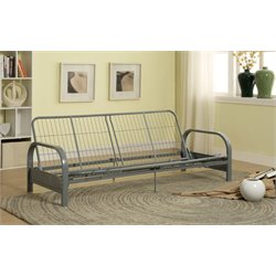 Furniture of America Cecily Metal Futon Sofa Frame in Silver