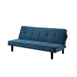 Furniture of America Cale Tufted Linen Sleeper Sofa Bed in Dark Teal