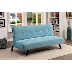 Furniture of America Tami Tufted Fabric Sleeper Sofa Bed in Blue