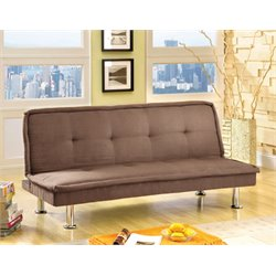 Furniture of America Caden Microfiber Sleeper Sofa Bed in Dark Beige