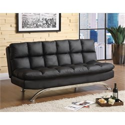 Furniture of America Preston Tufted Leather Sleeper Sofa Bed in Black