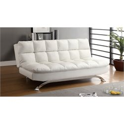 Furniture of America Preston Tufted Leather Sleeper Sofa Bed in White