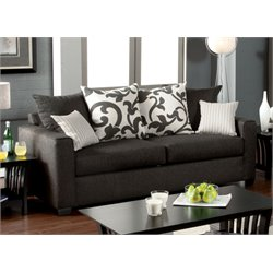Furniture of America Shor Fabric Upholstered Sofa in Charcoal