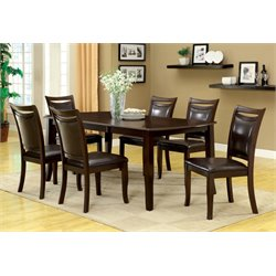 Furniture of America Kitner 7 Piece Extendable Dining Set in Cherry