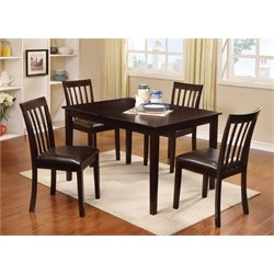 Furniture of America Derica 5 Piece Dining Set in Espresso