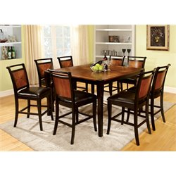 Furniture of America Leda 7 Piece Counter Height Dining Set in Acacia