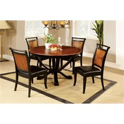 Furniture of America Leda 5 Piece Round Dining Set in Acacia and Black