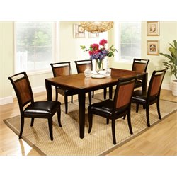 Furniture of America Leda 7 Piece Dining Set in Acacia and Black