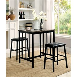 Furniture of America Roy 3 Piece Counter Height Pub Set in Black